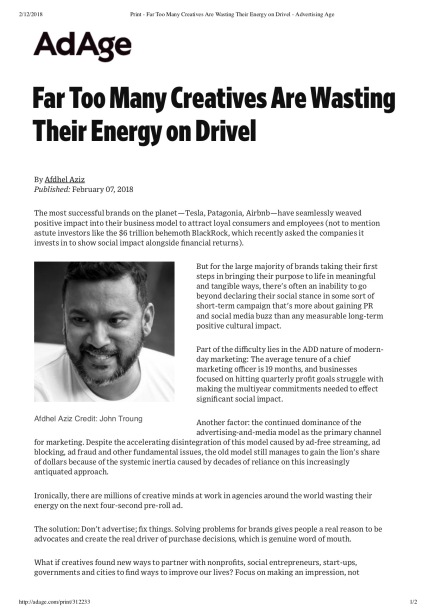Print - Far Too Many Creatives Are Wasting Their Energy on Drivel - Advertising Age