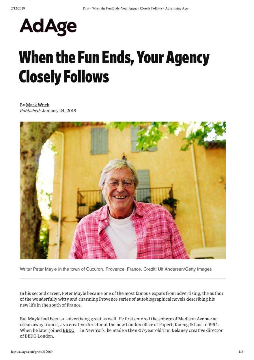 Print - When the Fun Ends, Your Agency Closely Follows - Advertising Age